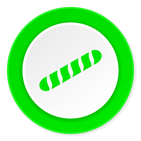crusty: baguette green fresh circle 3d modern flat design icon on white background