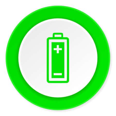 original ecological: battery green fresh circle 3d modern flat design icon on white background