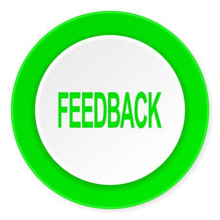 feedback green fresh circle 3d modern flat design icon on white background Stock Photo