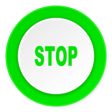 proscribed: stop green fresh circle 3d modern flat design icon on white background