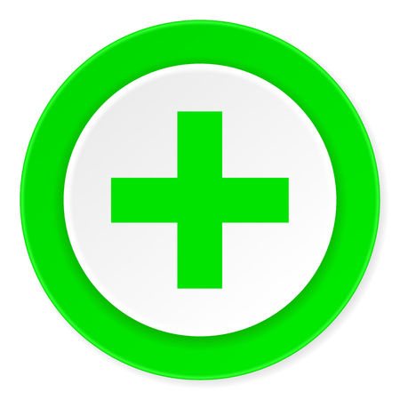 green plus: plus green fresh circle 3d modern flat design icon on white background