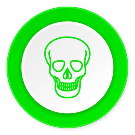 pirating: skull green fresh circle 3d modern flat design icon on white background