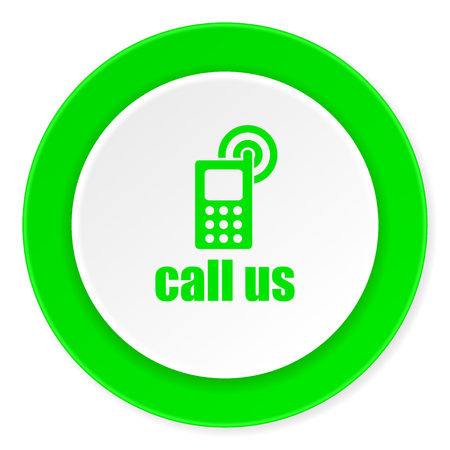 call us: call us green fresh circle 3d modern flat design icon on white background