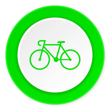 original bike: bicycle green fresh circle 3d modern flat design icon on white background Stock Photo