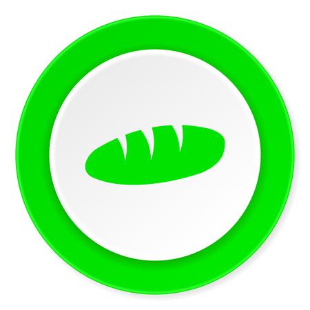 crusty: bread green fresh circle 3d modern flat design icon on white background