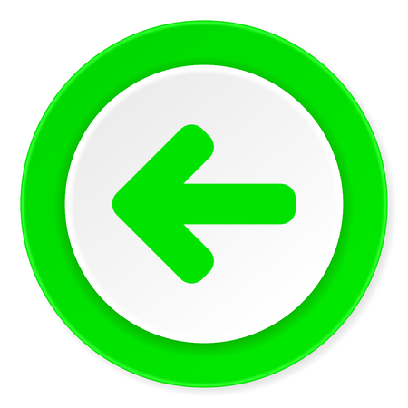 move backward: left arrow green fresh circle 3d modern flat design icon on white background Stock Photo