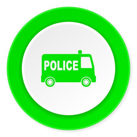 highway patrol: police green fresh circle 3d modern flat design icon on white background Stock Photo