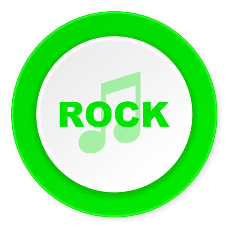live stream radio: rock music green fresh circle 3d modern flat design icon on white background