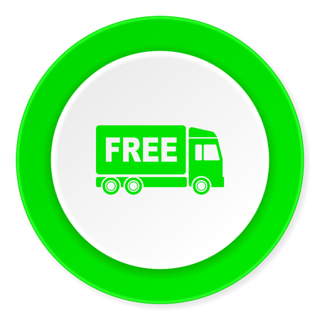 complimentary: free delivery green fresh circle 3d modern flat design icon on white background Stock Photo