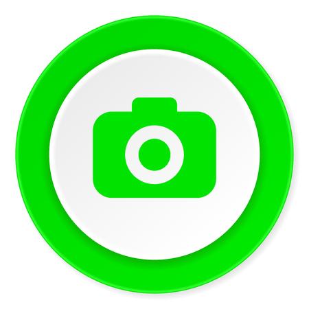 picto: photo camera green fresh circle 3d modern flat design icon on white background