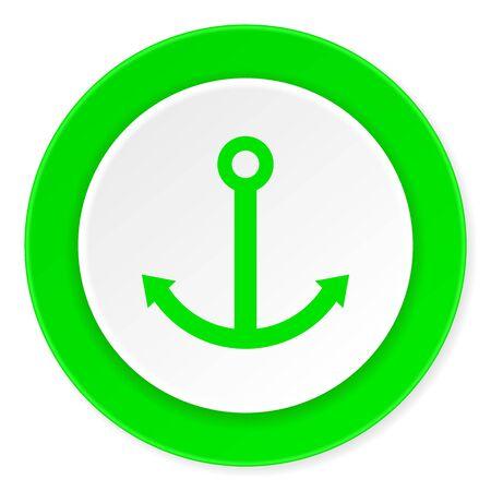 quay: anchor green fresh circle 3d modern flat design icon on white background