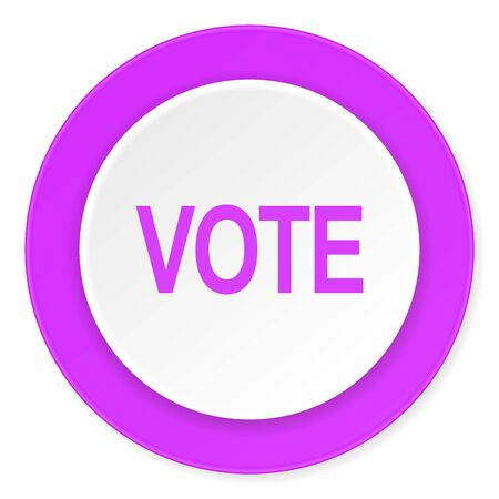 elect: vote violet pink circle 3d modern flat design icon on white background Stock Photo