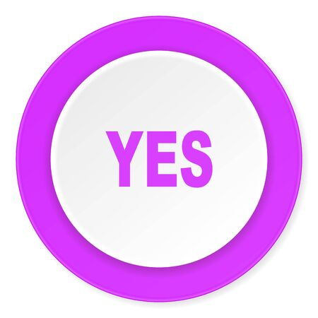 yea: yes violet pink circle 3d modern flat design icon on white background