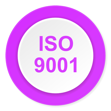 din: iso 9001 violet pink circle 3d modern flat design icon on white background