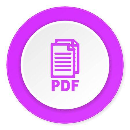 bibliography: pdf violet pink circle 3d modern flat design icon on white background , Stock Photo