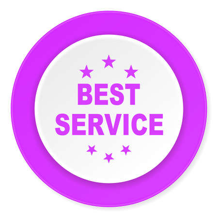 best service: best service violet pink circle 3d modern flat design icon on white background Stock Photo