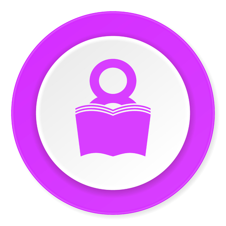 book violet pink circle 3d modern flat design icon on white background