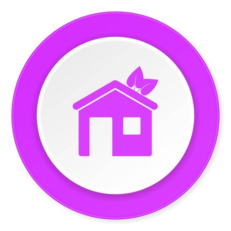 house violet pink circle 3d modern flat design icon on white background Stock Photo
