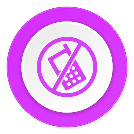 telephones: no phone violet pink circle 3d modern flat design icon on white background