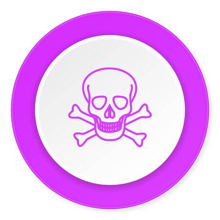 pirating: skull violet pink circle 3d modern flat design icon on white background