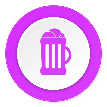 bierglas: beer violet pink circle 3d modern flat design icon on white background Stock Photo