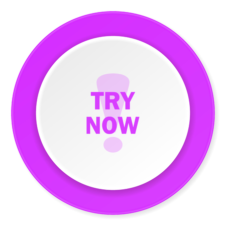 test probe: try now violet pink circle 3d modern flat design icon on white background
