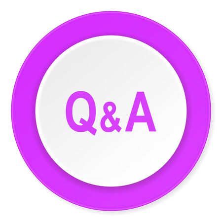 question and answer: question answer violet pink circle 3d modern flat design icon on white background