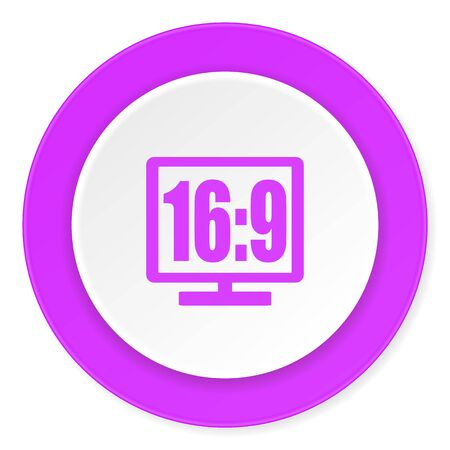 16 9: 16 9 display violet pink circle 3d modern flat design icon on white background