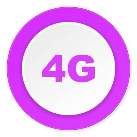 4g: 4g violet pink circle 3d modern flat design icon on white background