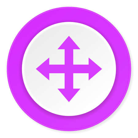 directions icon: arrow violet pink circle 3d modern flat design icon on white background