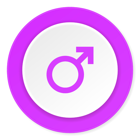 homosexual sex: male violet pink circle 3d modern flat design icon on white background