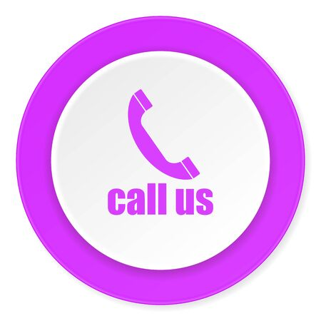 call us: call us violet pink circle 3d modern flat design icon on white background
