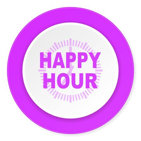 happy hour drink: happy hour violet pink circle 3d modern flat design icon on white background Stock Photo