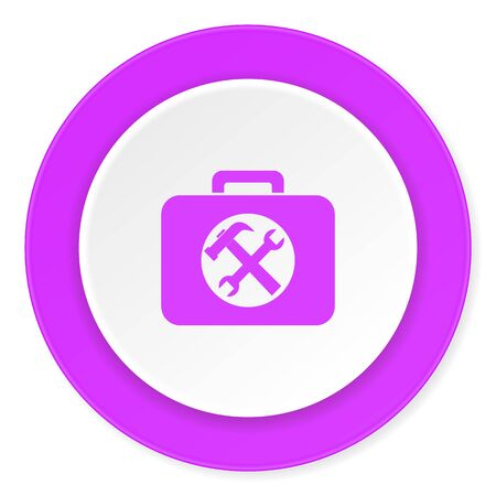 toolkit: toolkit violet pink circle 3d modern flat design icon on white background