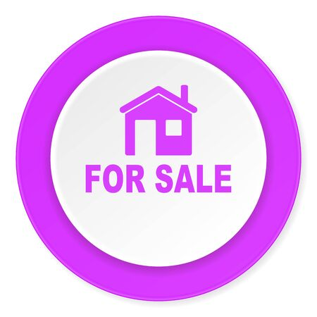violet residential: for sale violet pink circle 3d modern flat design icon on white background
