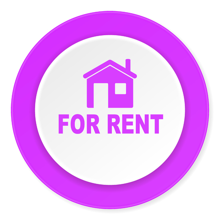 violet residential: for rent violet pink circle 3d modern flat design icon on white background Stock Photo