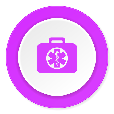 rescue circle: rescue kit violet pink circle 3d modern flat design icon on white background