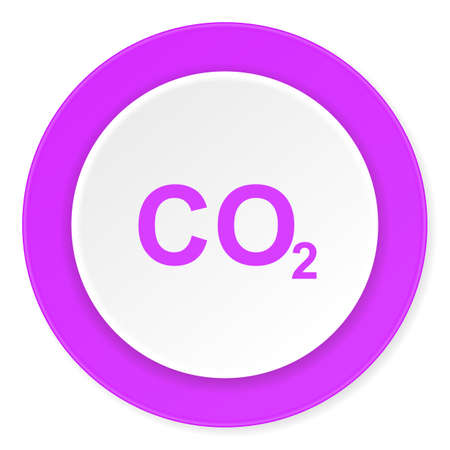 carbon dioxide: carbon dioxide violet pink circle 3d modern flat design icon on white background Stock Photo