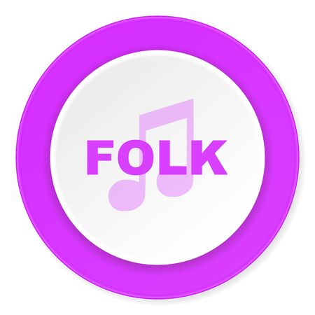 folk music: folk music violet pink circle 3d modern flat design icon on white background
