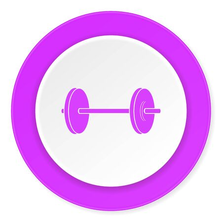 circular muscle: fitness violet pink circle 3d modern flat design icon on white background