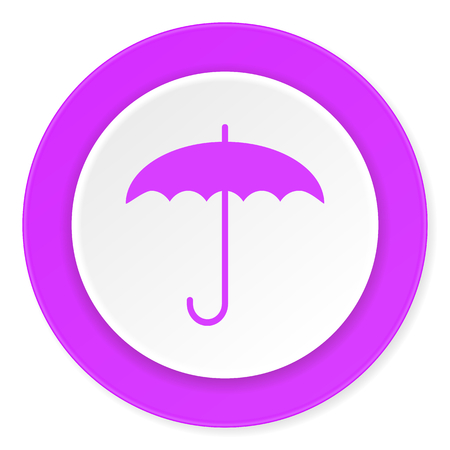 moist: umbrella violet pink circle 3d modern flat design icon on white background