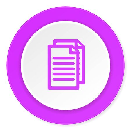 document violet pink circle 3d modern flat design icon on white background