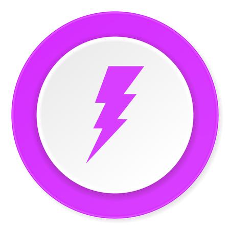 high voltage symbol: bolt violet pink circle 3d modern flat design icon on white background