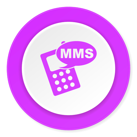 mms: mms violet pink circle 3d modern flat design icon on white background
