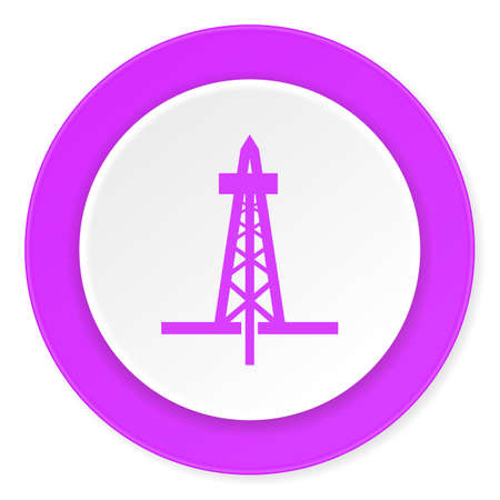 refinery engineer: drilling violet pink circle 3d modern flat design icon on white background
