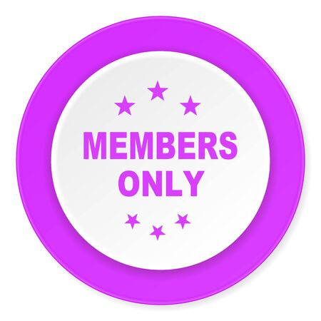 members only: members only violet pink circle 3d modern flat design icon on white background