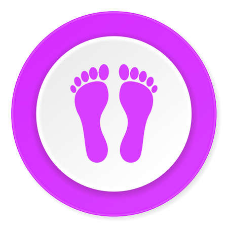 original ecological: foot violet pink circle 3d modern flat design icon on white background