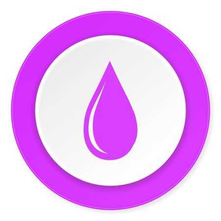 drinkable: water drop violet pink circle 3d modern flat design icon on white background Stock Photo