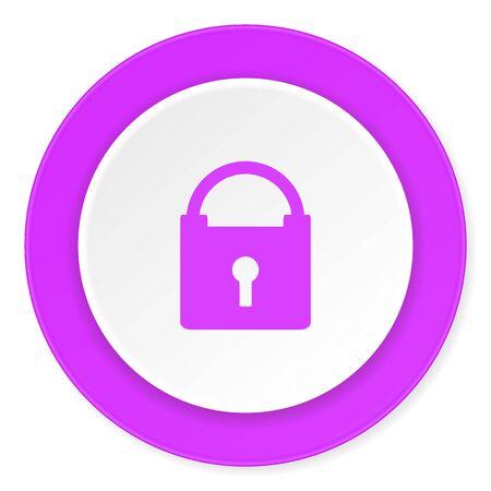trusty: padlock violet pink circle 3d modern flat design icon on white background