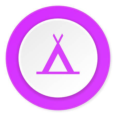 3d bungalow: camp violet pink circle 3d modern flat design icon on white background